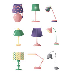 set of table lamps of different shapes and colors vector image