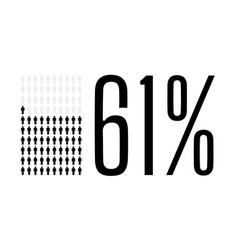Sixty one percent people chart graphic 61 vector
