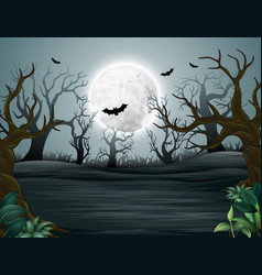 spooky forest of helloween misty mystery vector image