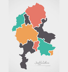 Staffordshire england map with states and modern vector