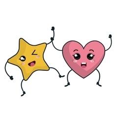 star and heart kawaii characters vector image