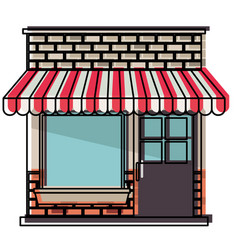 Store facade with sunshade in watercolor vector