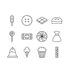 sweet dessert candy and pastry icons set line vector image