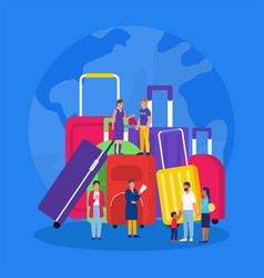 travel luggage vacation suitcases with tourists vector image