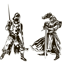 Two Medieval Knights vector image