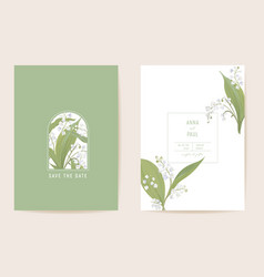 wedding lily floral save date set vector image