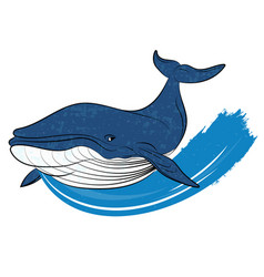 whale on a blue wave vector image