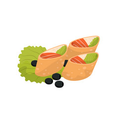 Wheat roll with cream cheese and salmon banquet vector