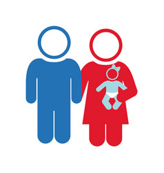 White background of pictogram with couple and baby vector