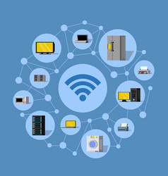 Wireless technology round composition vector