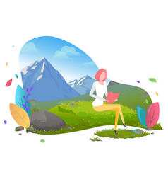 woman freelance worker with laptop in mountains vector image