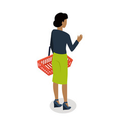 Woman with basket buying daily products vector