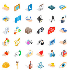 Work icons set isometric style vector