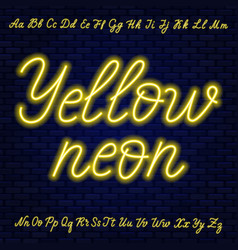 Yellow neon script uppercase and lowercase vector