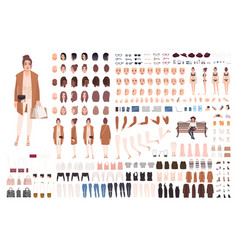 young stylish woman creation set or constructor vector image