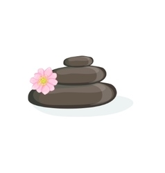 Zen pyramid with black warm massage stones element vector