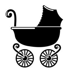baby carriage vintage icon simple black style vector image vector image