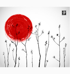 black tree branches with fresh leaves and big red vector image