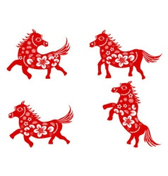 Chinese horse-paper cut vector image vector image