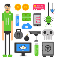 internet hacker computer phishing malware viruses vector image