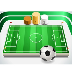 Soccer Field with Soccer Ball and Podium vector image