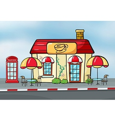 A coffee shop and a callbox vector image