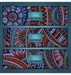 Abstract ethnic pattern cards vector