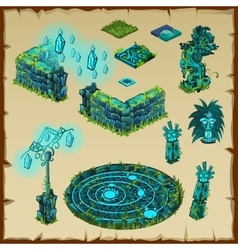 Ancient location Maya glow green stone and glass vector image vector image