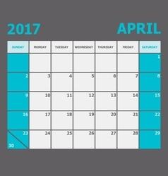 April 2017 calendar week starts on Sunday vector image