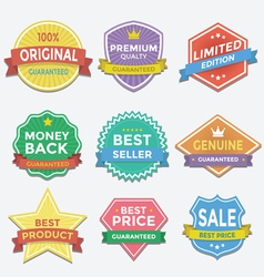 Flat color badges and labels promotion design vector image vector image