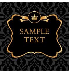 Golden Label on Damask black Background vector image vector image