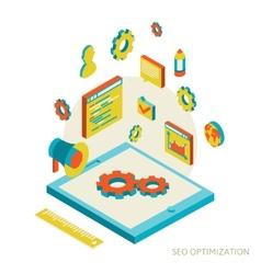 isometric background seo optimization vector image vector image