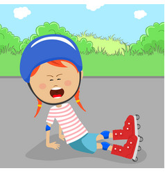 little girl on rollers in protective gear fell off vector image vector image