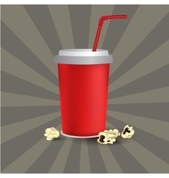 Red paper cup template vector image vector image
