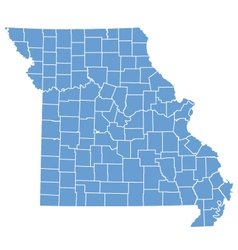 State map of Missouri by counties vector image vector image