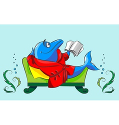 The dolphin has a rest vector image vector image