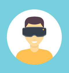 vr glasses icon virtual reality headset man in vector image