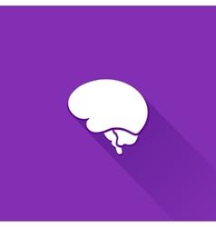 Flat long shadow brain icon vector image vector image