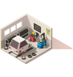 isometric low poly car tire service icon vector image