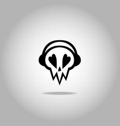 skull with headphones icon logo vector image
