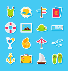 summer travel stickers vector image vector image