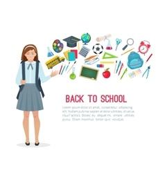 Teen student girl and school supplies vector image