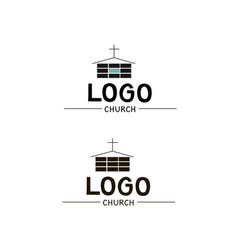 the church logo with a cross and a building vector image
