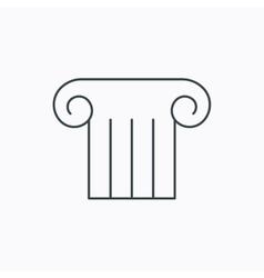 Antique column icon ancient museum sign vector