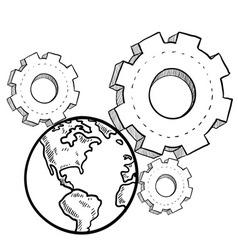 doodle gears earth vector image