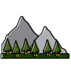 mountains and tree landscape vector image vector image