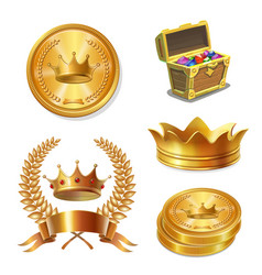 royal golden crowns coins and treasure chest set vector image