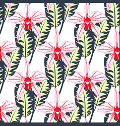 seamless pattern with orchids 1 vector image vector image