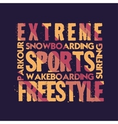 T-shirt extreme sports design fashion vector image vector image