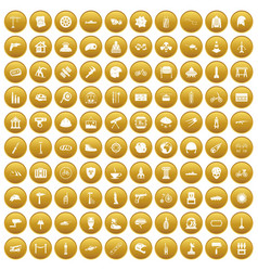 100 helmet icons set gold vector